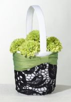 Green And Black Lace Wedding Flower Basket
